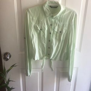 Mint green amazing casual long sleeve girly top